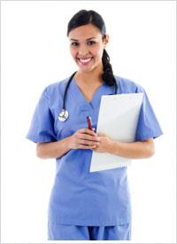 nurse smiling in her scrubs