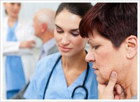 nurses contemplating diagnosis